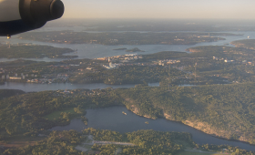 Inflygning över Stockholm